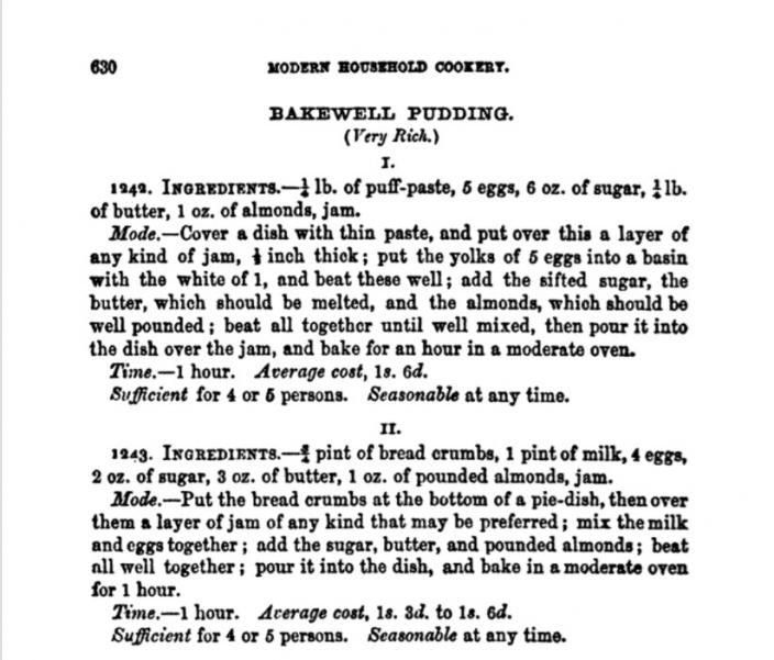 A recipe for Bakewell Pudding from Mrs. Beeton's, The Book of Household Management (1861). (Image: © 2017, Laurel Ann Nattress)