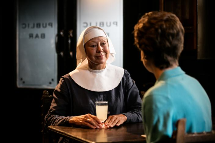 Sister Julienne (Jenny Agutter) asks Valerie Dyer (Jennifer Kirby) to join the Nonnatus midwives  (Photo: Courtesy of Neal Street Productions 2016)