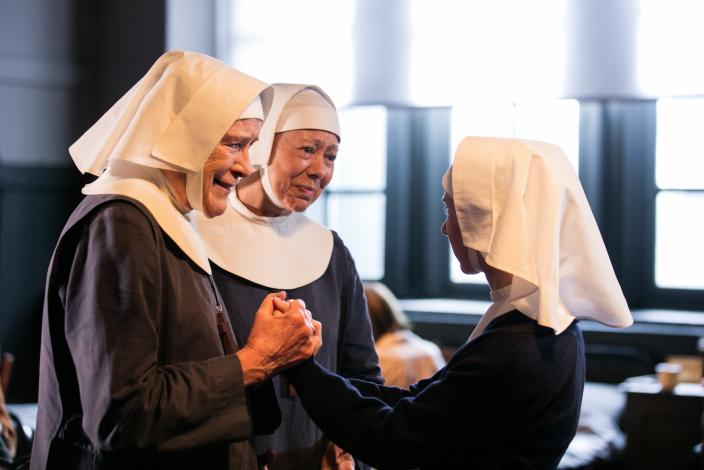 A joyful Nonnatus reunion (Judy Parfitt, Jenny Agutter and Bryony Hannah)  (Photo: Courtesy of Neal Street Productions 2016)