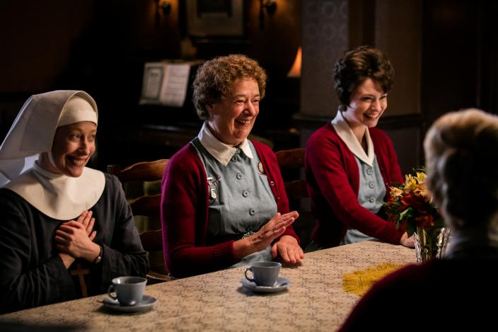 Sister Winifred (Victoria Yeates), Nurse Crane (Linda Bassett) and Nurse Dyer (Jennifer Kirby) have a surprise for their colleague  (Photo: courtesy of Neal Street Productions 2016)