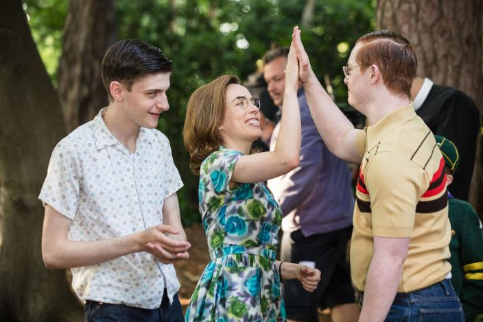 Picnickers Tim (Max Macmillen), Shelagh (Laura Main) and Reggie (Daniel Laurie)  (Photo Credit: Courtesy of Neal Street Productions 2017)