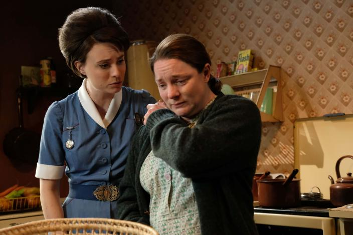 Valerie Dyer (Jennifer Kirby) consoles Betty Marwick (Lisa Ellis) (Photo Credit: Courtesy of BBC/Neal Street Productions)