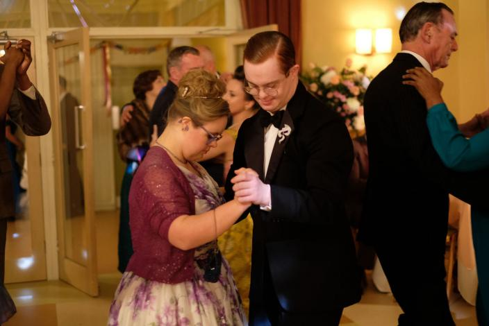 Jane (Poppy Barrett) and Reggie (Daniel Laurie) at the ball  (Photo Credit: Courtesy of BBC/Neal Street Productions)