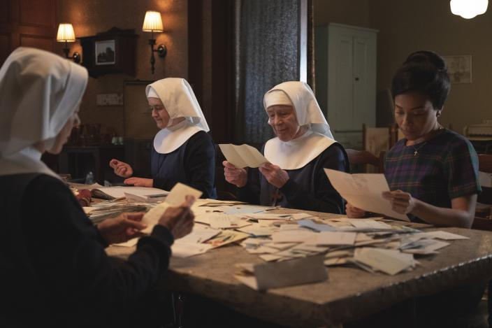 Sister Julienne (Jenny Agutter), Sister Frances (Ella Bruccoleri), Sister Monica Joan (Judy Parfitt and Nurse  Anderson (Leonie Elliott) work to save Nonnatus House     Credit: Courtesy of BBC / Neal Street Productions