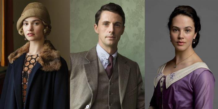 Lily James as Lady Rose MacClare, Matthew Goode as Henry Talbot and Jessica Brown Findlay as Lady Sybil Crawley in 'Downton Abbey' all feature prominently in the new WWII period film 'The Guernsey Literary and Potato Peel Pie Society' releasing in 2018. (Photo courtesy of Masterpiece PBS & Carnival Films ©2010-2015)