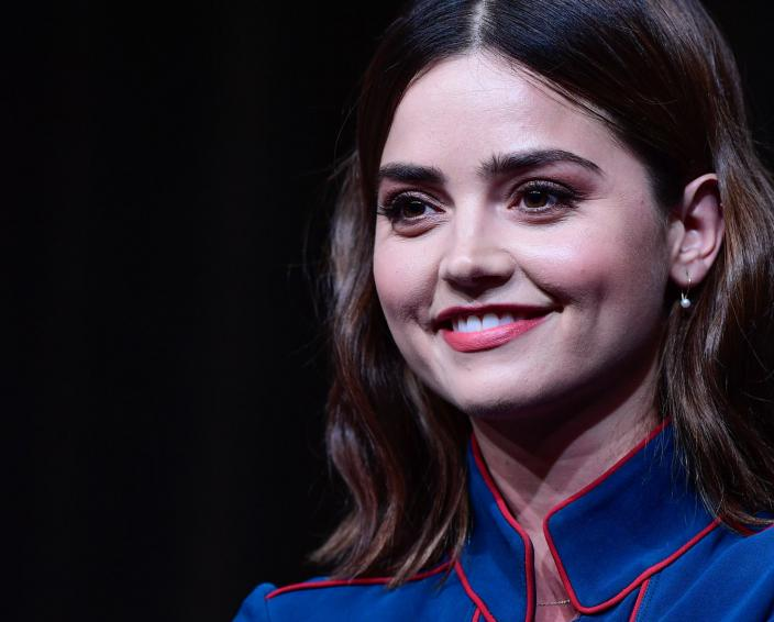 "Jenna Coleman at a 2016 Television Critics Association session for ""Victoria"" (Photo: Rahoul Ghose/PBS)"