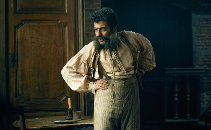 Adeel Akhtar as Monsieur Thenardier (Photo: Robert Viglasky/Lookout Point for BBC One and MASTERPIECE)