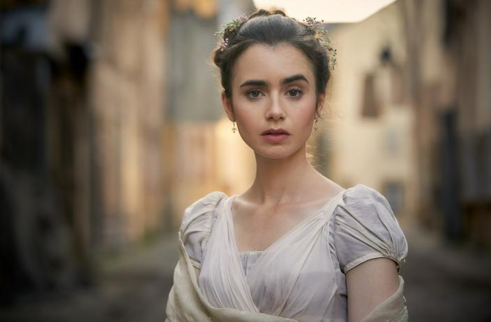 Lily Collins as Fantine Josh OConnor and Ellie Bamber as Marius and Cosette (Photo: Robert Viglasky/Lookout Point for BBC One and MASTERPIECE)