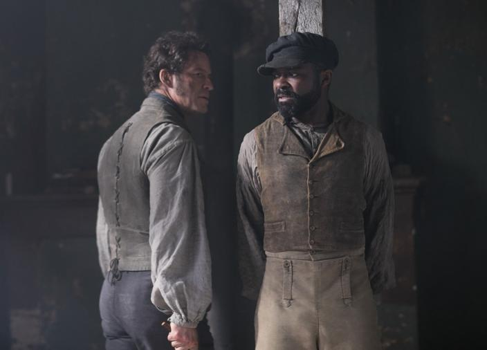 Dominic West and David Oyelowo as Jean Valjean and Inspector Javert (Photo: Robert Viglasky/Lookout Point for BBC One and MASTERPIECE)