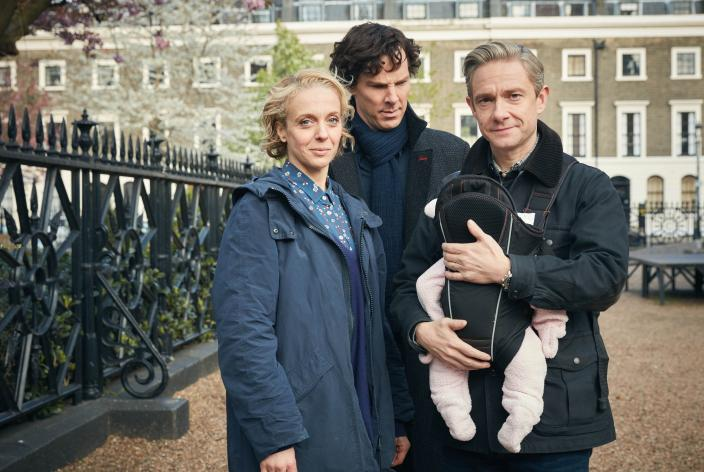 Sherlock, John, Mary and the latest addition to the Waston family. This is a Season 1 promo shot of Moriarty, but who knows if hell be back?  (Photo:  Courtesy of Robert Viglasky/Hartswood Films 2016 for MASTERPIECE)