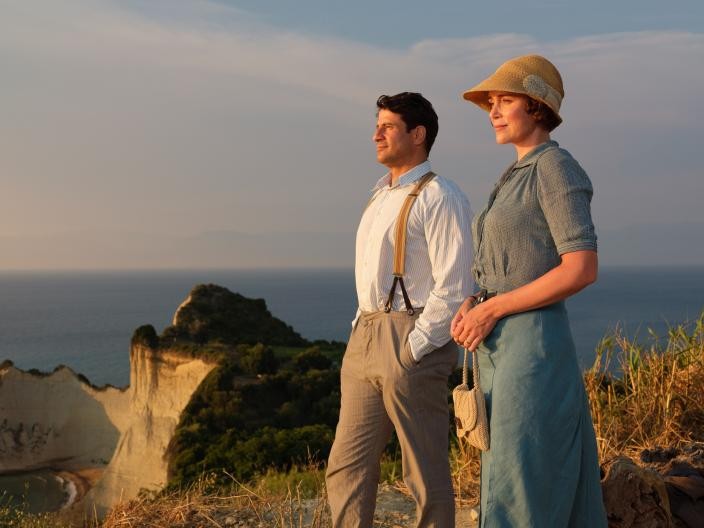 Louisa Durrell (KEELEY HAWES) & Spiro (ALEXIS GEORGOULIS) (Photo Credit Courtesy of Joss Barratt for Sid Gentle Films & MASTERPIECE)