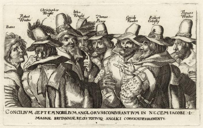 The Gunpowder Plot Conspirators after Heinrich Ulrich. Creative Commons, National Portrait Gallery UK