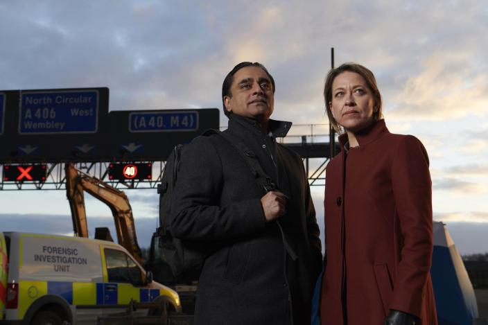 "Sanjeev Bhaskar and Nicola Walker in ""Unforgotten"" Season 3 Courtesy of Mainstreet Pictures for ITV and MASTERPIECE"