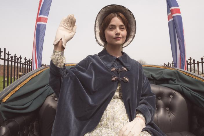 Victoria's carriage ride look is too cute. (Photo: Courtesy of ITV Plc)