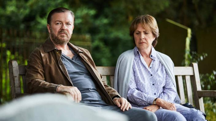 "Ricky Gervais and Penelope Wilton in ""After Life"" (Photo: Netflix)"
