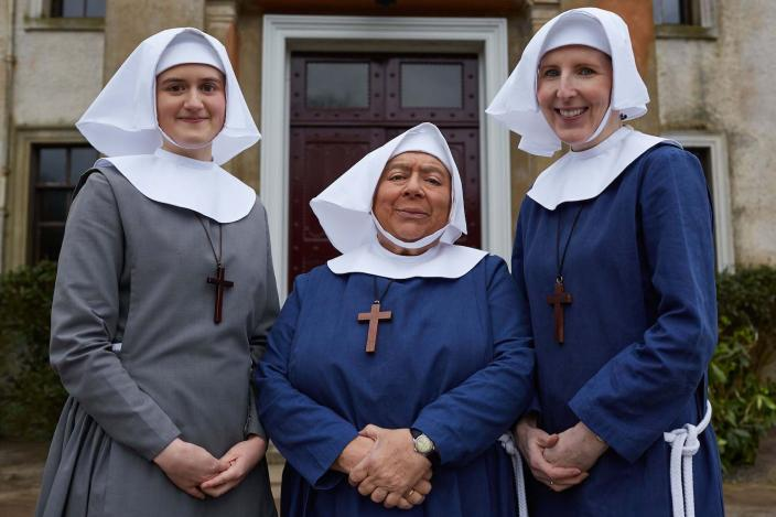 Mother House residents Sister Frances (ELLA BRUCCOLERI), Sister Mildred (MIRIAM MARGOLYES), Sister Hilda (FENELLA)  (Photo Credit: Courtesy of Neal Street Production/BBC)
