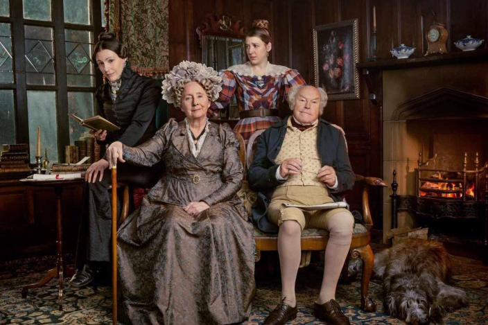 Anne Lister (Suranne Jones), her father Jeremy (Timothy West), sister Marian (Gemma Whelan) and Aunt Lister (Gemma Jones). Photo: BBC