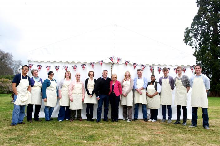 The Great British Baking Show's Season 5 Contestants, along with judges Mary Berry and Paul Hollywood.   Credit: Courtesy of © Love Productions, worldwide, all media in perpetuity