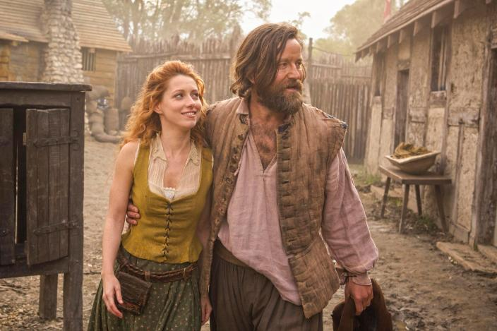 "Niamh Walsh and Dean Lennox Kelly as Verity and Meredith in ""Jamestown"" (Photo: Carnival Films Ltd 2017)"