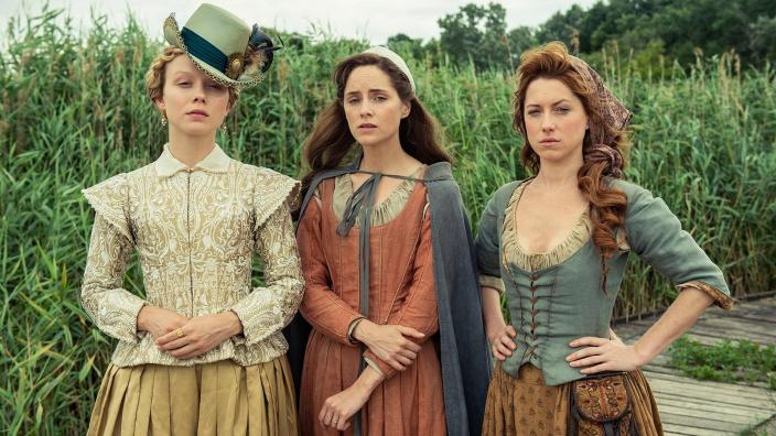 "Our last look at the three leading ladies of ""Jamestown"" together (Photo: Carnival Films Ltd 2019)"