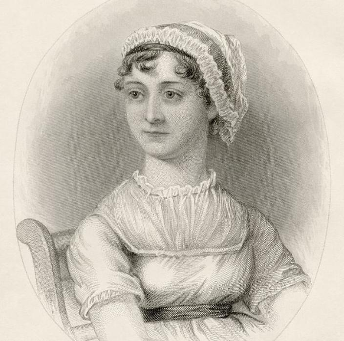 An engraving of Jane Austen, based on the original watercolor sketch by her sister Cassandra, first appeared as the frontispiece in A Memoir of Jane Austen, written by her nephew James Edward Austen Leigh in 1870. (image credit: scanned from the author's collection, 2016)