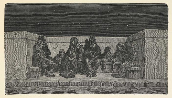 "Rough Sleepers. ""London, A Pilgrimage"" illustrated by Gustave Dore. British Library, Public Domain"