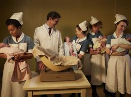 It;s a baby boom for Nurse Anderson (Leonie Elliott), Dr. Turner (Stephen McGann), Nurse Turner (Laura Main), Nurse Crane (Linda Bassett) and Nurse Dyer (Jennifer Kirby)  (Photo Credit: Courtesy of Neal Street Productions)
