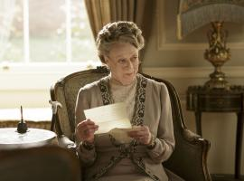 Maggie Smith, looking appropriately judgy as the Dowager Countess. (Photo: Courtesy of Nick Briggs/Carnival Film & Television Limited 2015 for MASTERPIECE)