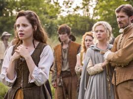 "Sophie Rundle, Naomi Battrick and Gwylim Lee in ""Jamestown"" (Photo: Carnival Films Ltd 2017)"