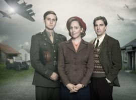"Aaron Stanton, Hattie Morahan and Owen McDonnell in they key art for ""My Mother and Other Strangers"" (Photo:  Courtesy of Steffan Hill/BBC 2016 for MASTERPIECE)"
