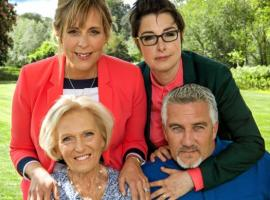 The close-knit Bake Off cast (Mel, Sue, Mary and Paul), Photo: Love Productions