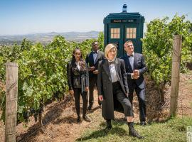 "Jodie Whittaker, Bradley Walsh, Tosin Cole and Mandip Gil in ""Doctor Who"" (Photo: BBC America)"