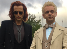 "David Tennant and Michael Sheen in their ""Good Omens"" garb. (Photo: Amazon/BBC/Neil Gaiman)"