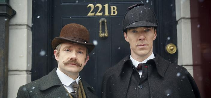 Martin Freeman and Benedict Cumberbatch, all dressed up like it's 1895. (Photo:  Courtesy of © Robert Viglasky/Hartswood Films and BBC Wales for BBC One and MASTERPIECE)