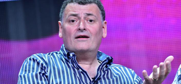 "Steven Moffat at ""Sherlock"" panel at the Television Critics Association press tour in 2015 (Photo: Rahoul Ghose/PBS)"