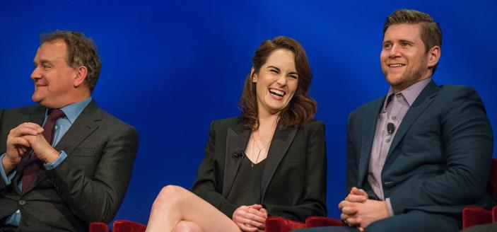 Allen Leech, Michelle Dockery and Hugh Bonneville at a PBS screening. (Photo: Stephanie Berger/PBS)