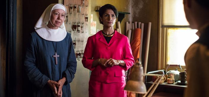 Sister Julienne (Jenny Agutter) and Mumtaz Gani (Balvinder Sopal) (Photo: Credit: Courtesy of Neal Street Productions 2017)