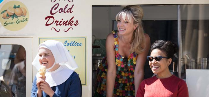 Sister Frances (Ella Brucoleri), Trixie Franklin (Helen George) and Lucille Anderson (Leonie Elliott) at the beach party (Photo Credit: Courtesy of BBC/Neal Street Productions)