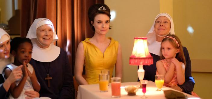 The Sisters and an emotionally drained Nurse Dyer (Jennifer Kirby) at the Ballroom of Hope dance (Photo Credit: Courtesy of BBC/Neal Street Productions)
