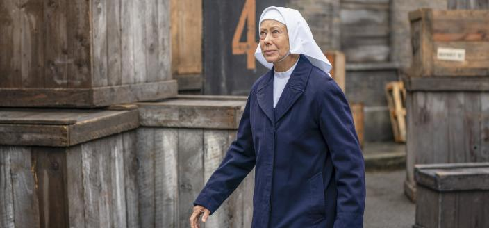 Sister Julienne (Jenny Agutter) goes to visit a new patient  (Photo credit: Courtesy of BBC / Neal Street Productions