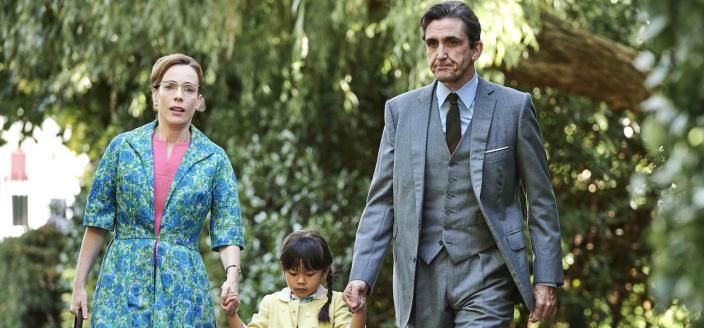 Shelagh (Laura Main), May (April Rae Hoang) and Patrick Turner (Stephen McGann) set off for an anxious reunion Credit:Courtesy of BBC / Neal Street Productions