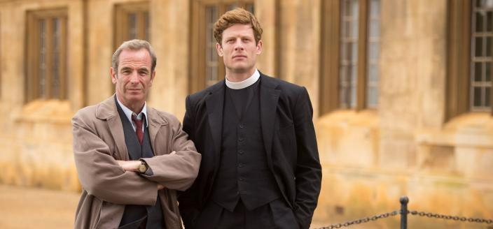 "Stars James Norton and Robson Green in ""Grantchester"". (Photo: Courtesy of (C) Des Willie/Lovely Day Productions & ITV for MASTERPIECE)"