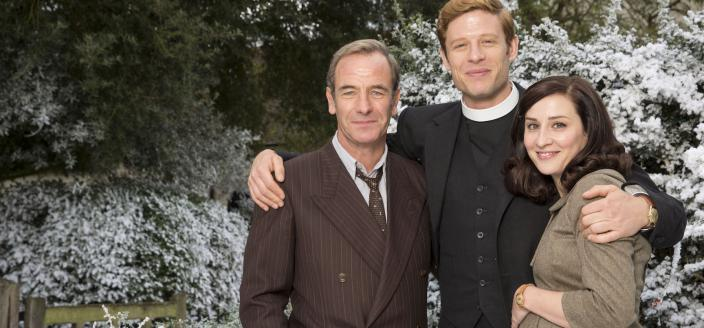 "James Norton, Robson Green and Morven Christie in ""Grantchester"" (Photo: Courtesy of Colin Hutton and Kudos/ITV for MASTERPIECE)"