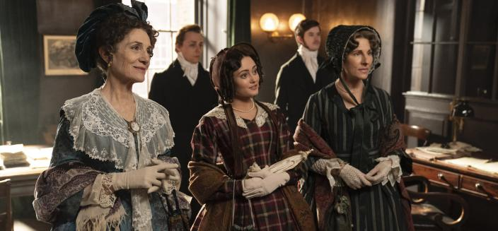 "Harriet Walter, Ella Purnell and Tamsin Grieg in ""Belgravia"", (Photo: Carnival Films - Colin Hutton)"