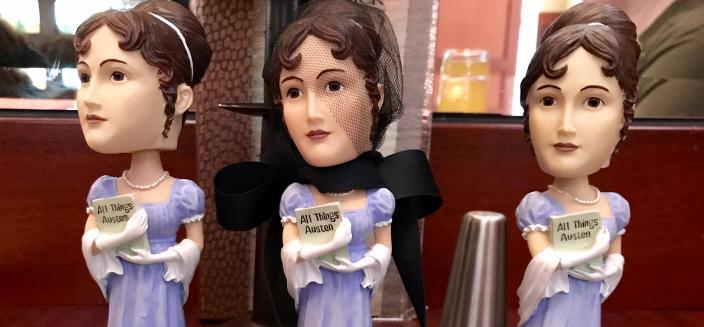 Three Jane Austen bobbleheads meet to discuss the merits of long sleeves this season. (image courtesy of © 2017 Julie Arnold)