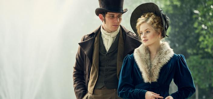 Josh OConnor and Ellie Bamber as Marius and Cosette (Photo: Robert Viglasky/Lookout Point for BBC One and MASTERPIECE)