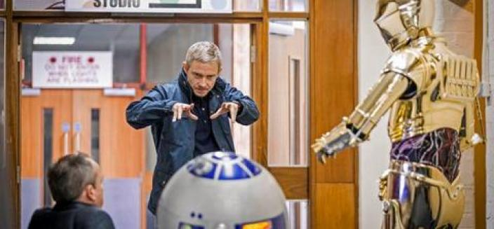 Martin Freeman, channeling his inner Jedi Master. (Photo: BBC)