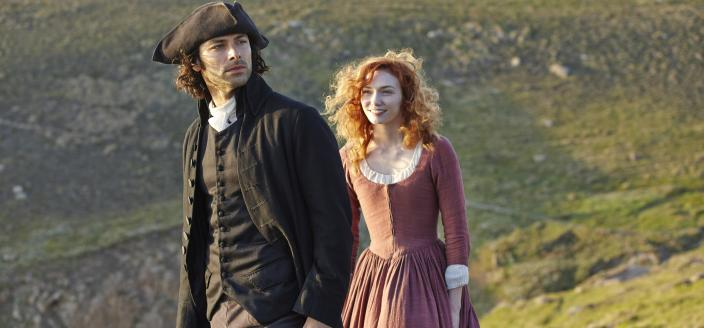 Ross and Demelza and the pretty scenery. (Photo: Courtesy of (C) Robert Viglasky/Mammoth Screen for MASTERPIECE)