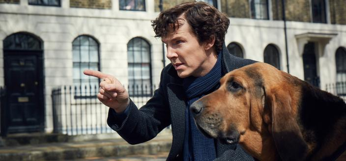 """""""Sherlock"""" star Benedict Cumberbatch and his super cute new canine companion (Photo:  Courtesy of Robert Viglasky/Hartswood Films for MASTERPIECE)"""