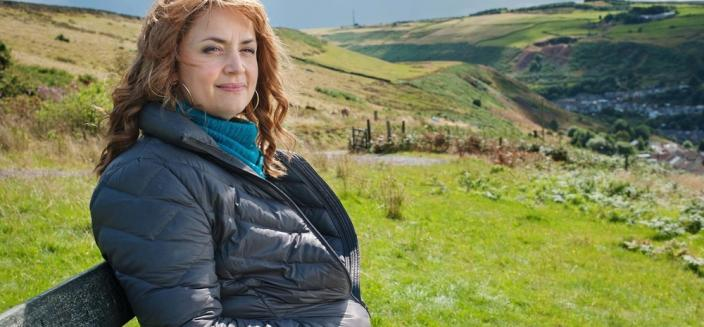 Stella (Ruth Jones) looks out over her South Wales village of Pontyberry. (Image credit: BBC Worldwide)